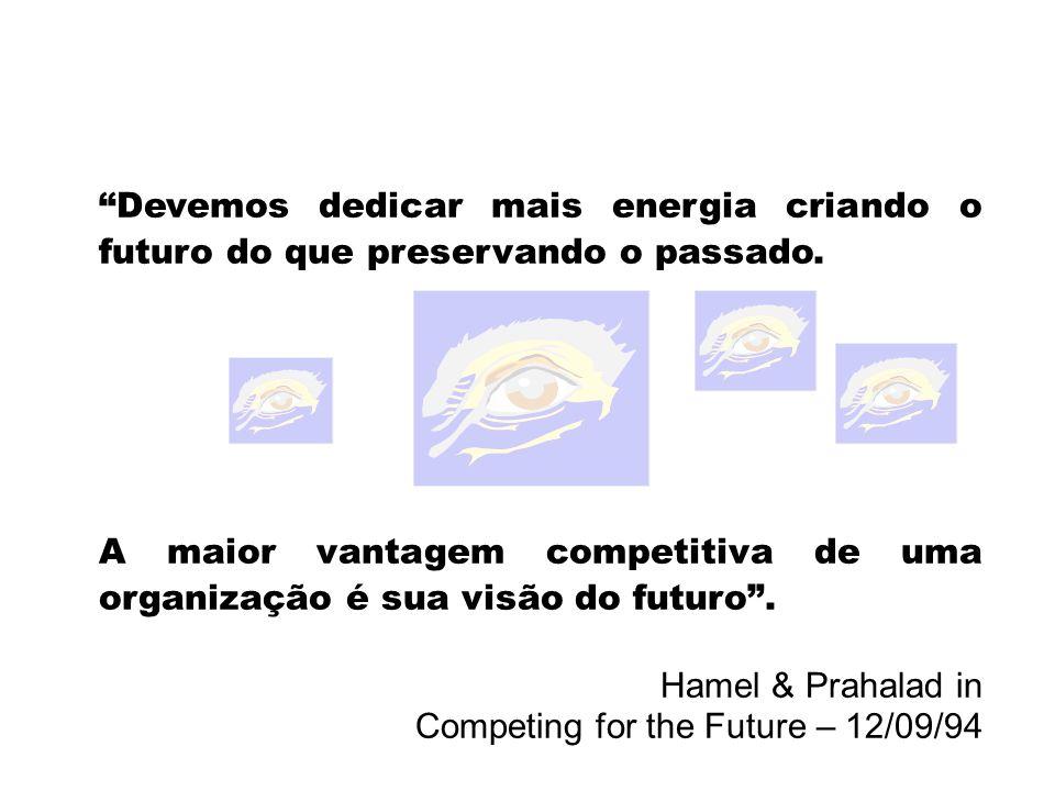 Devemos dedicar mais energia criando o futuro do que preservando o passado. A maior vantagem competitiva de uma organização é sua visão do futuro. Ham