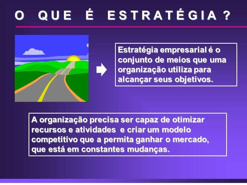 O Q U E É E S T R A T É G I A ? Estratégia empresarial é o conjunto de meios que uma organização utiliza para alcançar seus objetivos. A organização p