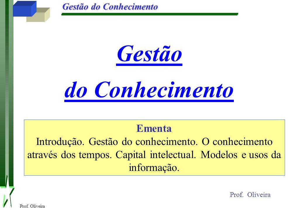 Prof. Oliveira Gestão do Conhecimento Gestão do Conhecimento Prof. Oliveira Ementa Introdução. Gestão do conhecimento. O conhecimento através dos temp