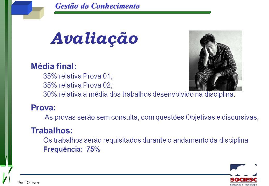 Prof. Oliveira Gestão do Conhecimento Avaliação Média final: 35% relativa Prova 01; 35% relativa Prova 02; 30% relativa a média dos trabalhos desenvol