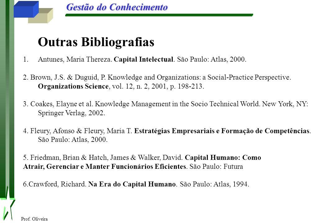 Prof. Oliveira Gestão do Conhecimento 1.Antunes, Maria Thereza. Capital Intelectual. São Paulo: Atlas, 2000. 2. Brown, J.S. & Duguid, P. Knowledge and