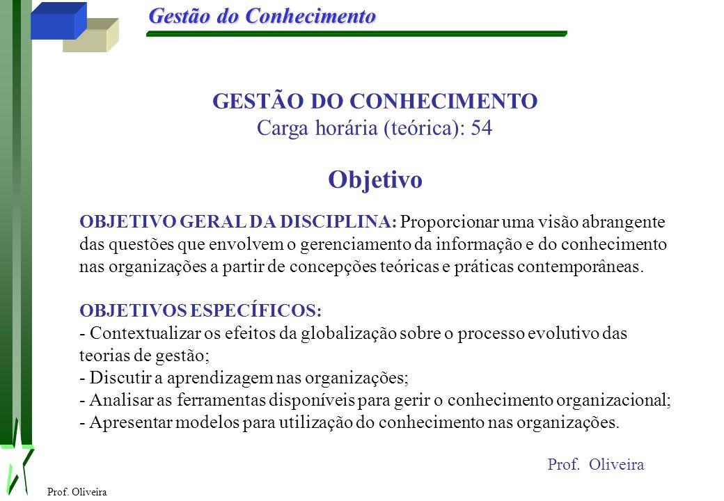 Prof. Oliveira Gestão do Conhecimento Prof. Oliveira GESTÃO DO CONHECIMENTO Carga horária (teórica): 54 Objetivo OBJETIVO GERAL DA DISCIPLINA: Proporc