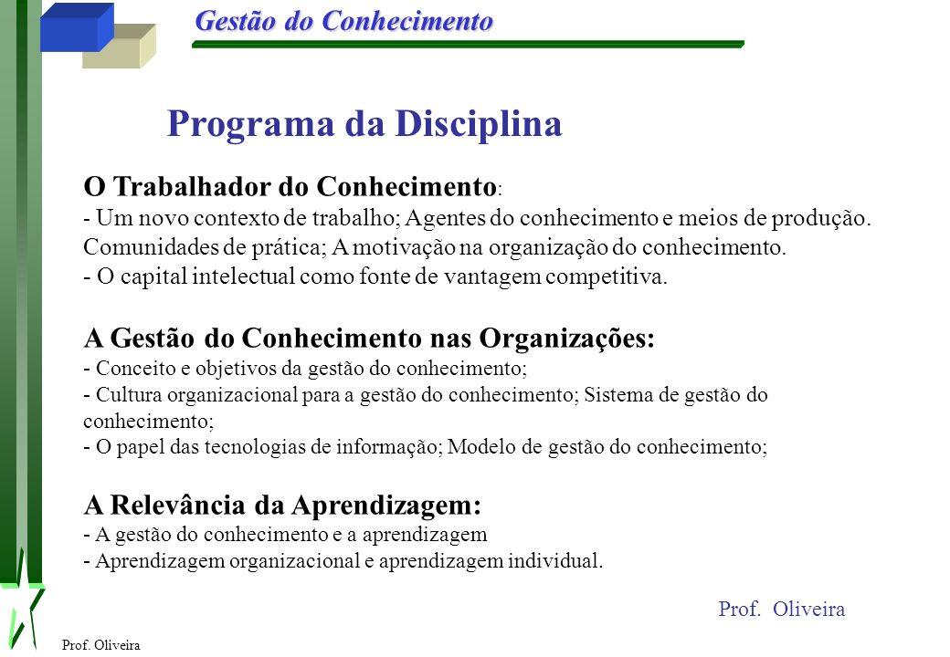 Prof. Oliveira Gestão do Conhecimento Prof. Oliveira O Trabalhador do Conhecimento : - Um novo contexto de trabalho; Agentes do conhecimento e meios d