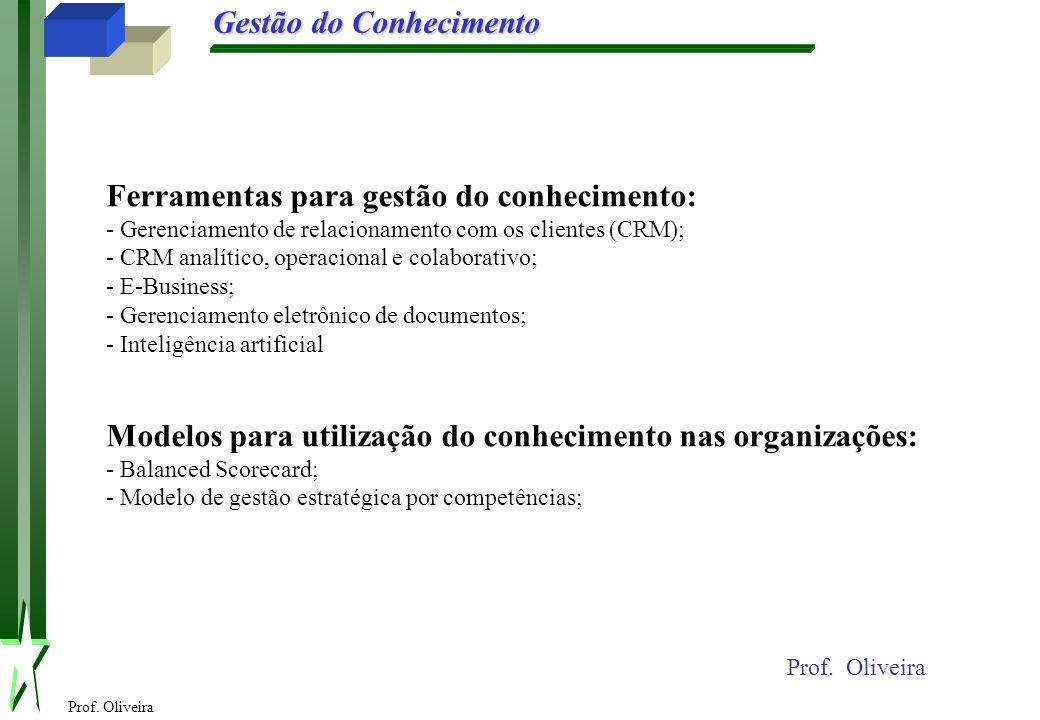 Prof. Oliveira Gestão do Conhecimento Prof. Oliveira Ferramentas para gestão do conhecimento: - Gerenciamento de relacionamento com os clientes (CRM);
