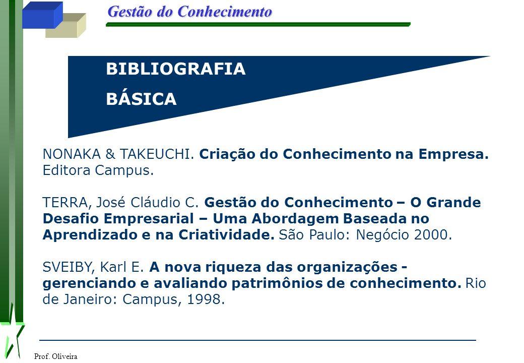 Prof. Oliveira Gestão do Conhecimento BIBLIOGRAFIABÁSICA NONAKA & TAKEUCHI. Criação do Conhecimento na Empresa. Editora Campus. TERRA, José Cláudio C.
