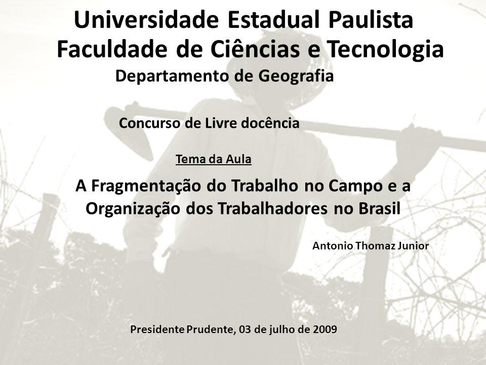 Tema da Aula Concurso de Livre docência A Fragmentação do Trabalho no Campo e a Organização dos Trabalhadores no Brasil Antonio Thomaz Junior Presiden