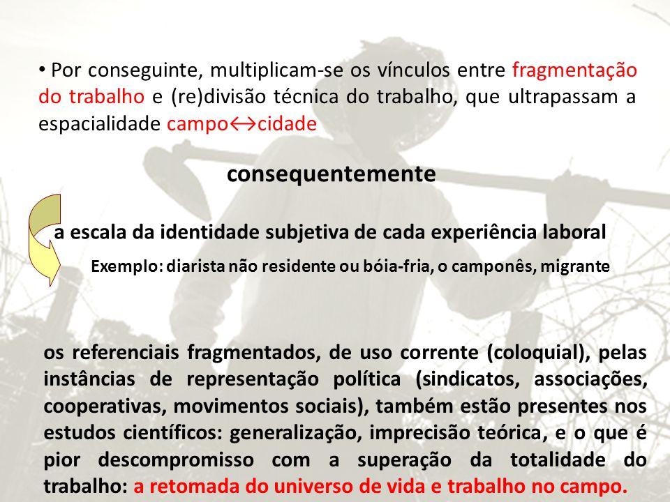 Por conseguinte, multiplicam-se os vínculos entre fragmentação do trabalho e (re)divisão técnica do trabalho, que ultrapassam a espacialidade campocid