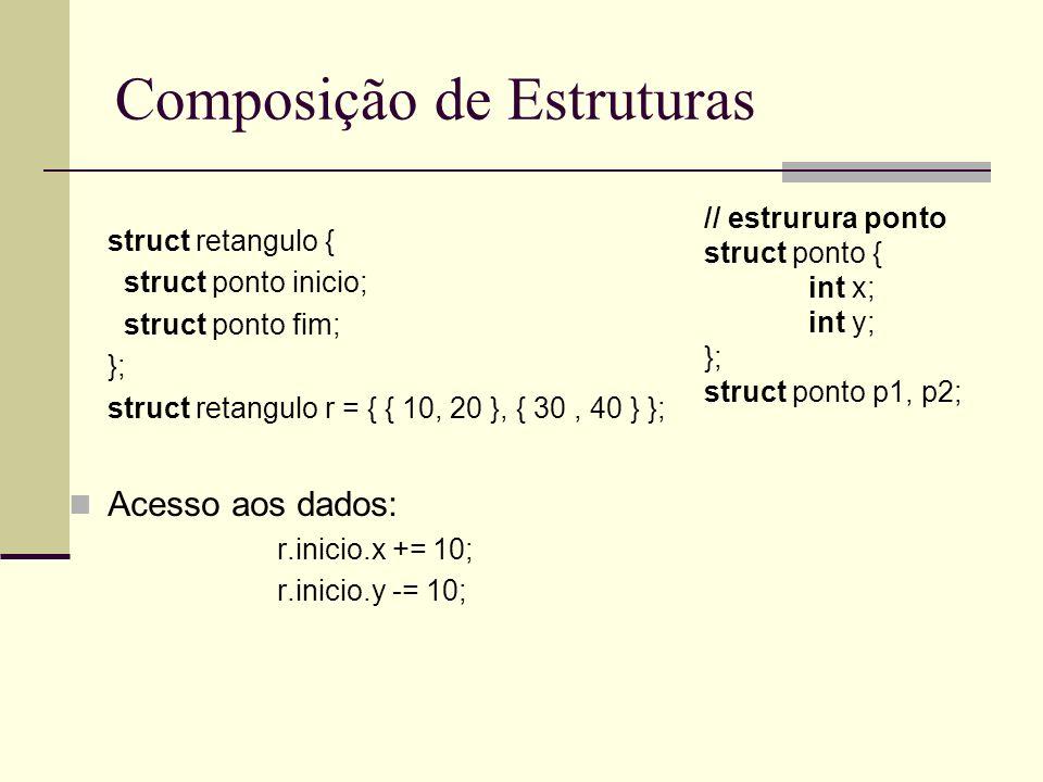 Composição de Estruturas struct retangulo { struct ponto inicio; struct ponto fim; }; struct retangulo r = { { 10, 20 }, { 30, 40 } }; Acesso aos dado