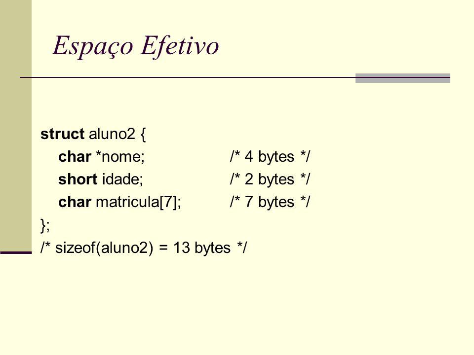 Espaço Efetivo struct aluno2 { char *nome;/* 4 bytes */ short idade;/* 2 bytes */ char matricula[7];/* 7 bytes */ }; /* sizeof(aluno2) = 13 bytes */