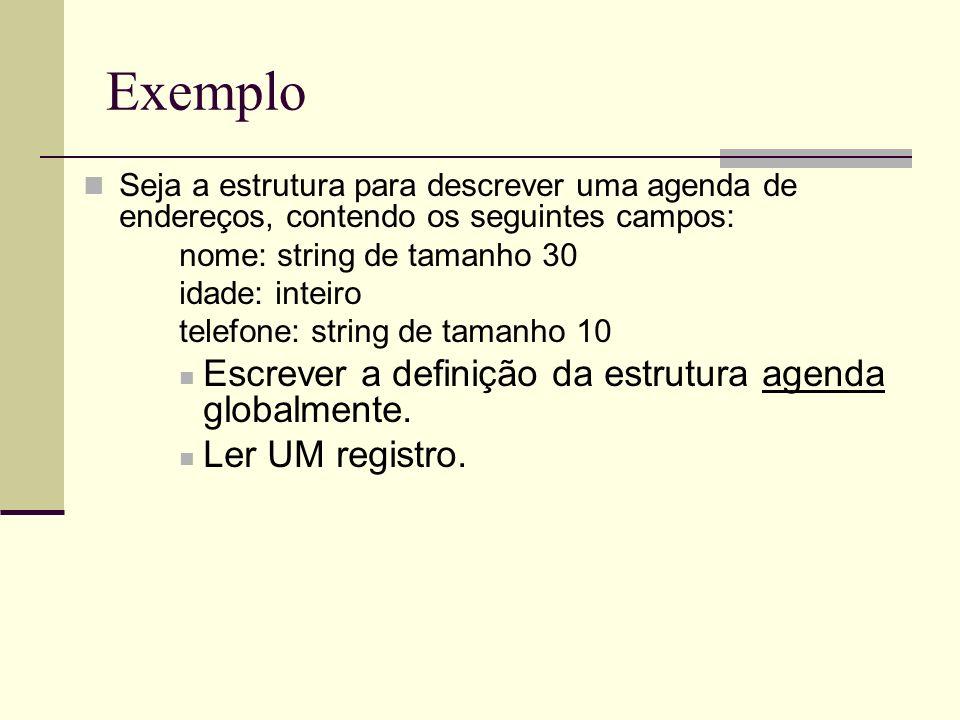 Exemplo Seja a estrutura para descrever uma agenda de endereços, contendo os seguintes campos: nome: string de tamanho 30 idade: inteiro telefone: str