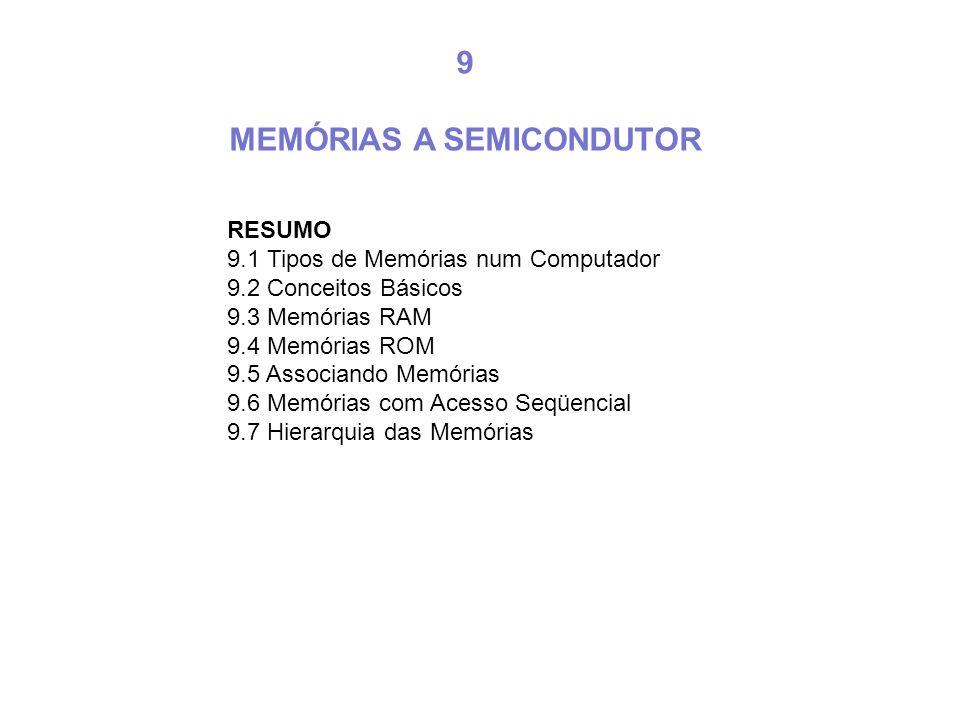 RESUMO 9.1 Tipos de Memórias num Computador 9.2 Conceitos Básicos 9.3 Memórias RAM 9.4 Memórias ROM 9.5 Associando Memórias 9.6 Memórias com Acesso Se
