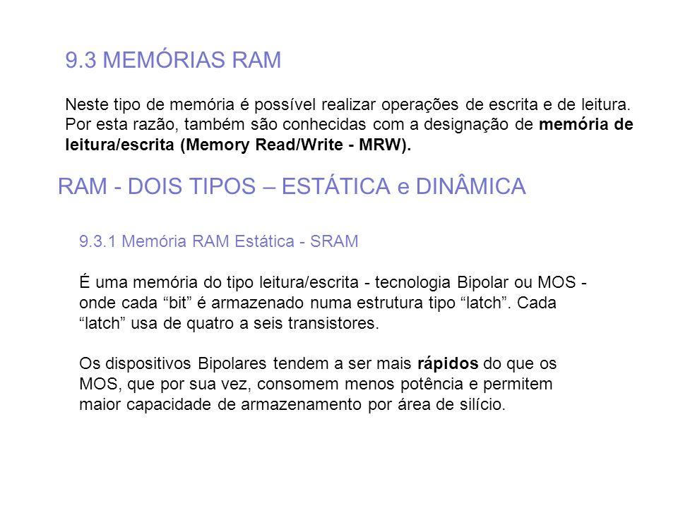 9.3 MEMÓRIAS RAM Neste tipo de memória é possível realizar operações de escrita e de leitura. Por esta razão, também são conhecidas com a designação d