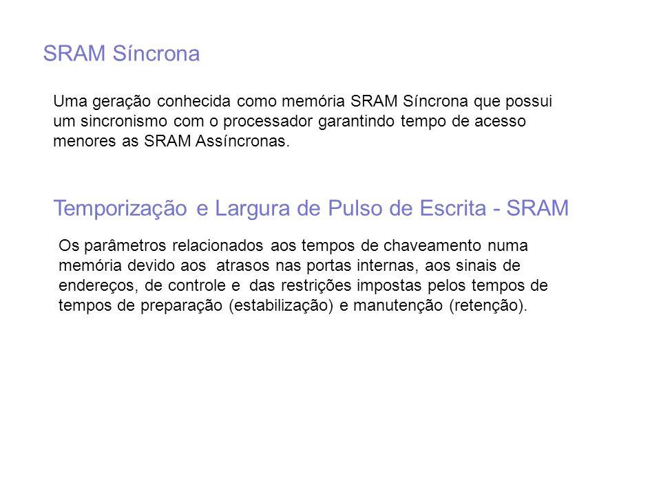 SRAM Síncrona Uma geração conhecida como memória SRAM Síncrona que possui um sincronismo com o processador garantindo tempo de acesso menores as SRAM