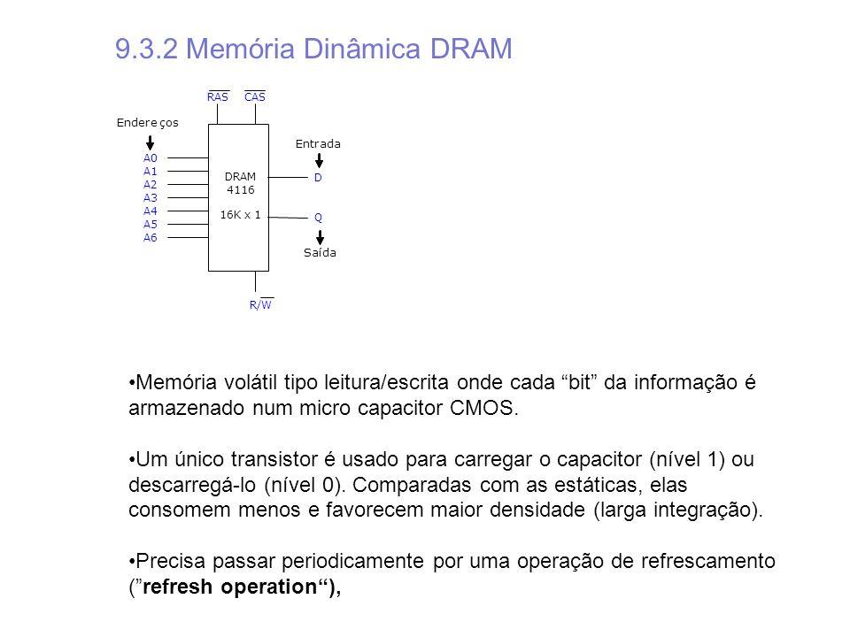 A0 A1 A2 A3 A4 A5 A6 D Q DRAM 4116 16K x 1 RAS R/W Endereços Entrada CAS Saída 9.3.2 Memória Dinâmica DRAM Memória volátil tipo leitura/escrita onde c