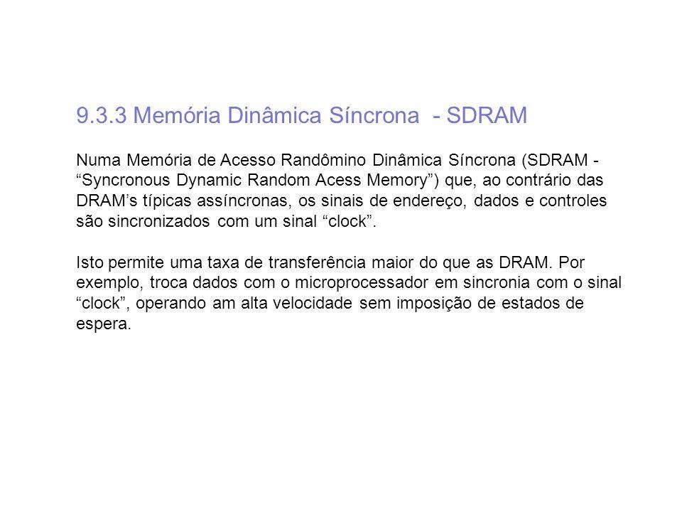9.3.3 Memória Dinâmica Síncrona - SDRAM Numa Memória de Acesso Randômino Dinâmica Síncrona (SDRAM - Syncronous Dynamic Random Acess Memory) que, ao co