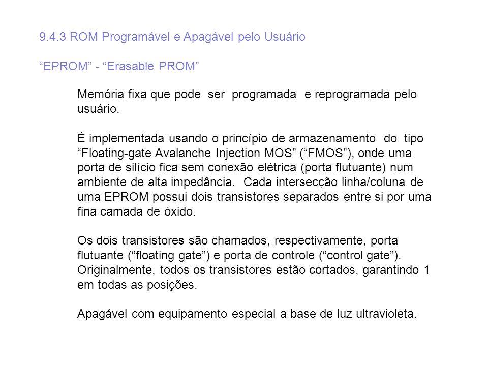 9.4.3 ROM Programável e Apagável pelo Usuário EPROM - Erasable PROM Memória fixa que pode ser programada e reprogramada pelo usuário. É implementada u