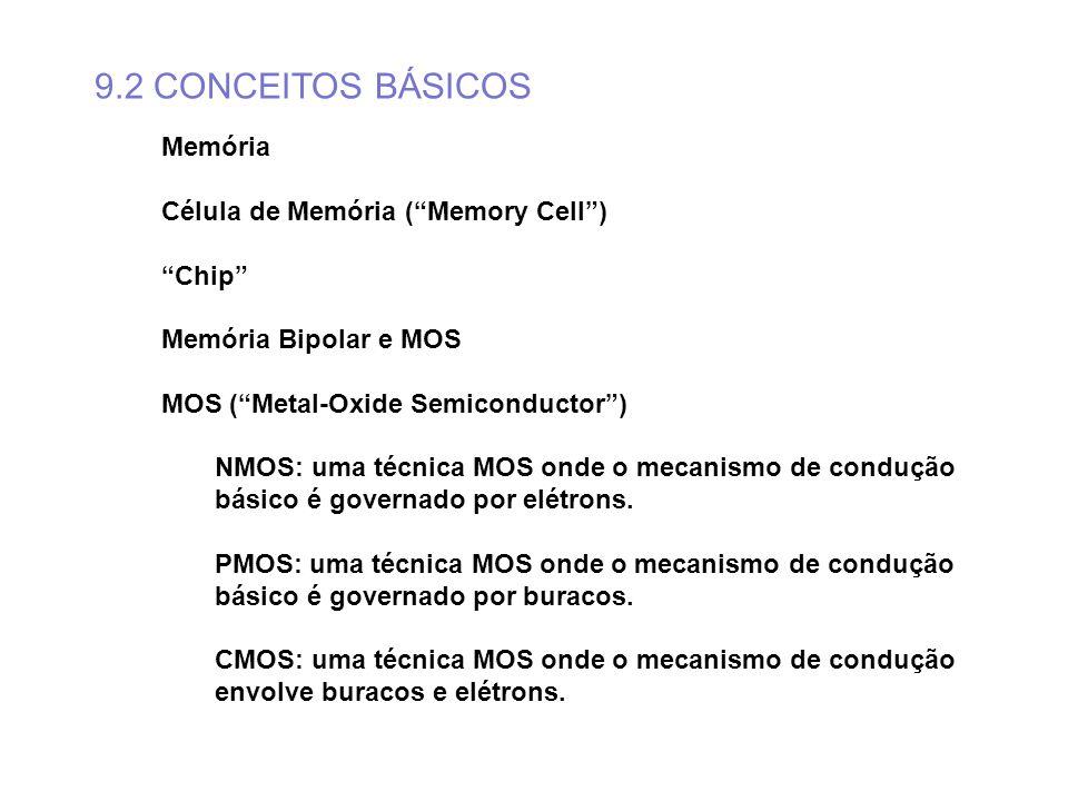 9.2 CONCEITOS BÁSICOS Memória Célula de Memória (Memory Cell) Chip Memória Bipolar e MOS MOS (Metal-Oxide Semiconductor) NMOS: uma técnica MOS onde o