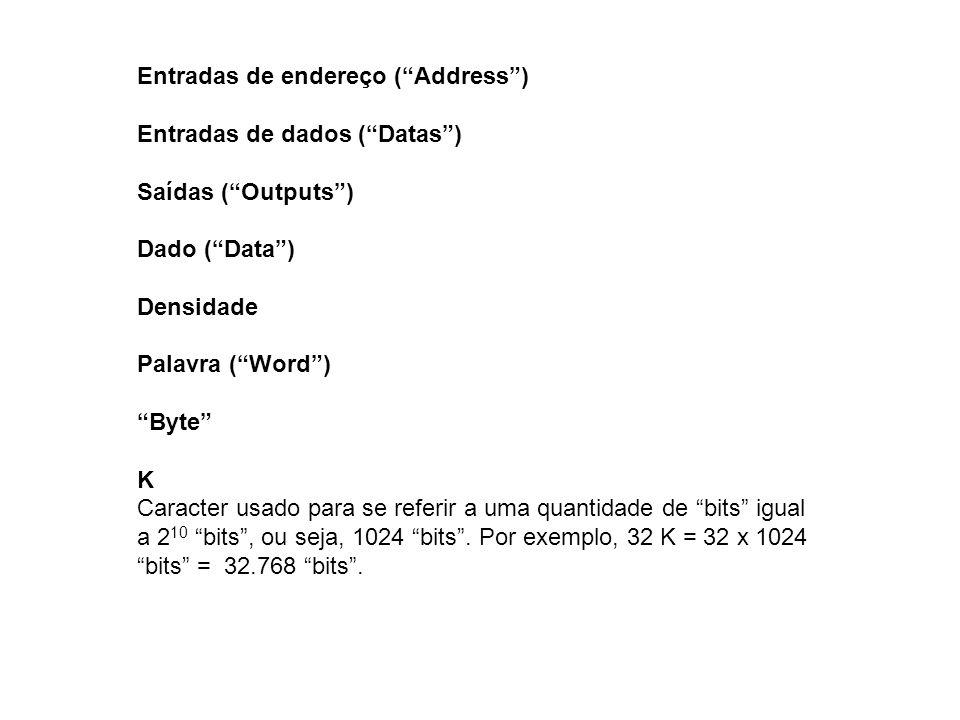 Entradas de endereço (Address) Entradas de dados (Datas) Saídas (Outputs) Dado (Data) Densidade Palavra (Word) Byte K Caracter usado para se referir a