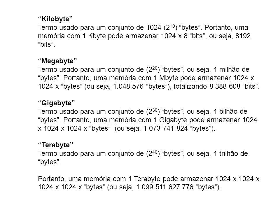 Kilobyte Termo usado para um conjunto de 1024 (2 10 ) bytes. Portanto, uma memória com 1 Kbyte pode armazenar 1024 x 8 bits, ou seja, 8192 bits. Megab