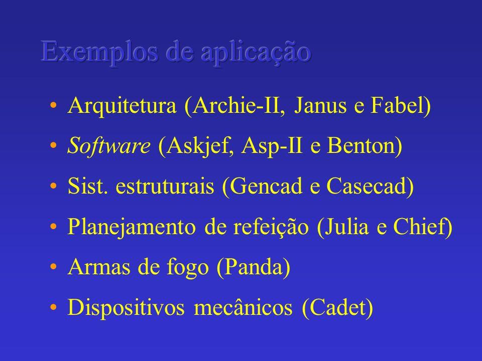 Arquitetura (Archie-II, Janus e Fabel) Software (Askjef, Asp-II e Benton) Sist. estruturais (Gencad e Casecad) Planejamento de refeição (Julia e Chief