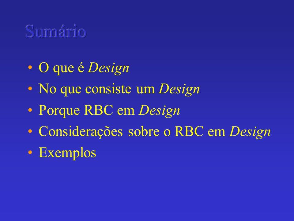 O que é Design No que consiste um Design Porque RBC em Design Considerações sobre o RBC em Design Exemplos