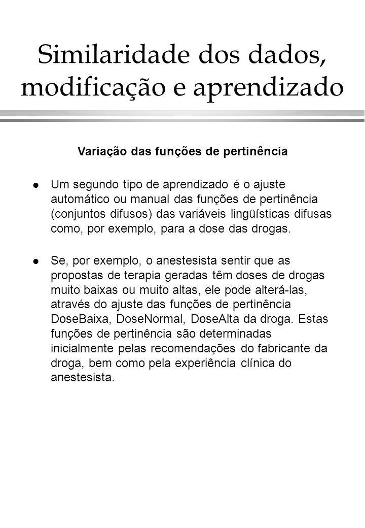 l Um segundo tipo de aprendizado é o ajuste automático ou manual das funções de pertinência (conjuntos difusos) das variáveis lingüísticas difusas como, por exemplo, para a dose das drogas.