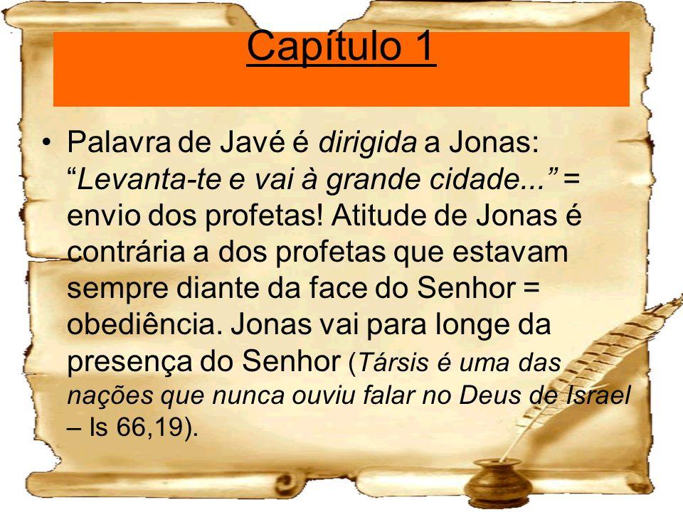 Capítulo 1 Palavra de Javé é dirigida a Jonas:Levanta-te e vai à grande cidade... = envio dos profetas! Atitude de Jonas é contrária a dos profetas qu