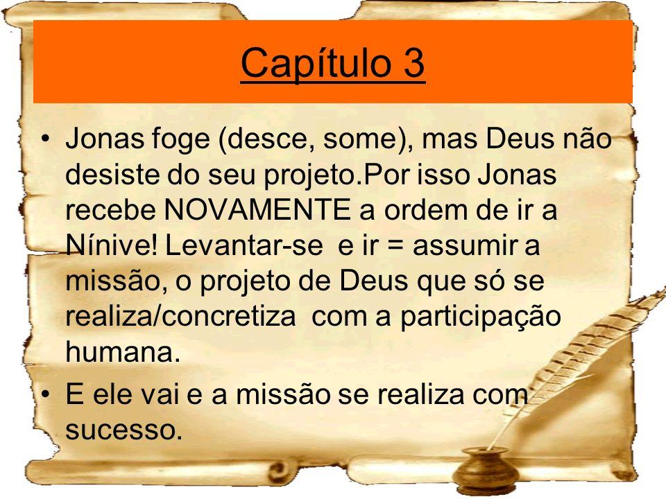 Capítulo 3 Jonas foge (desce, some), mas Deus não desiste do seu projeto.Por isso Jonas recebe NOVAMENTE a ordem de ir a Nínive! Levantar-se e ir = as