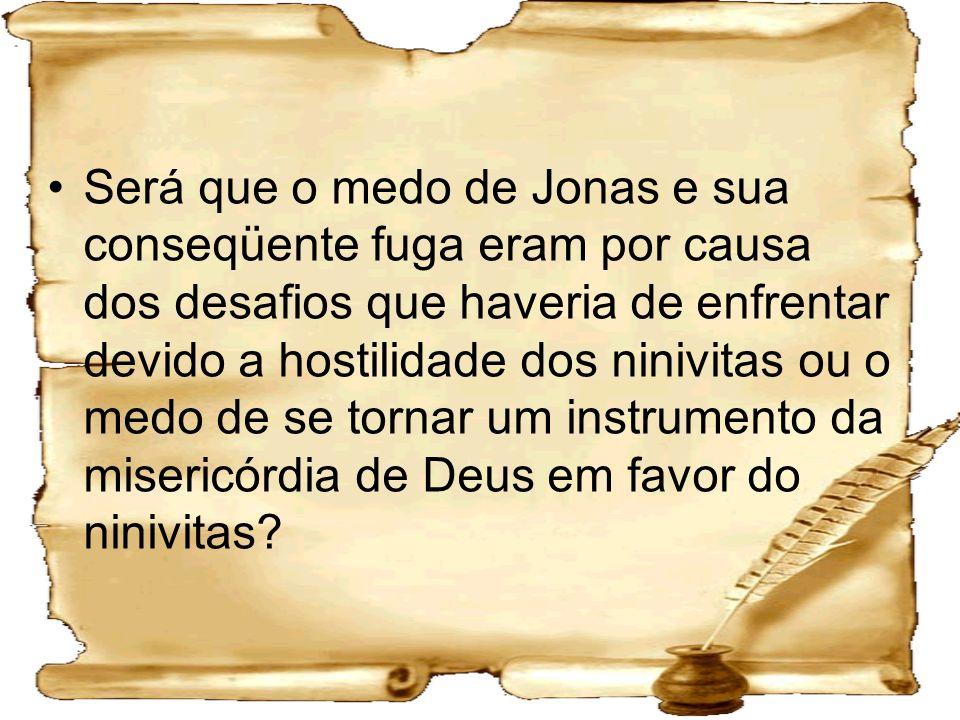 Será que o medo de Jonas e sua conseqüente fuga eram por causa dos desafios que haveria de enfrentar devido a hostilidade dos ninivitas ou o medo de s