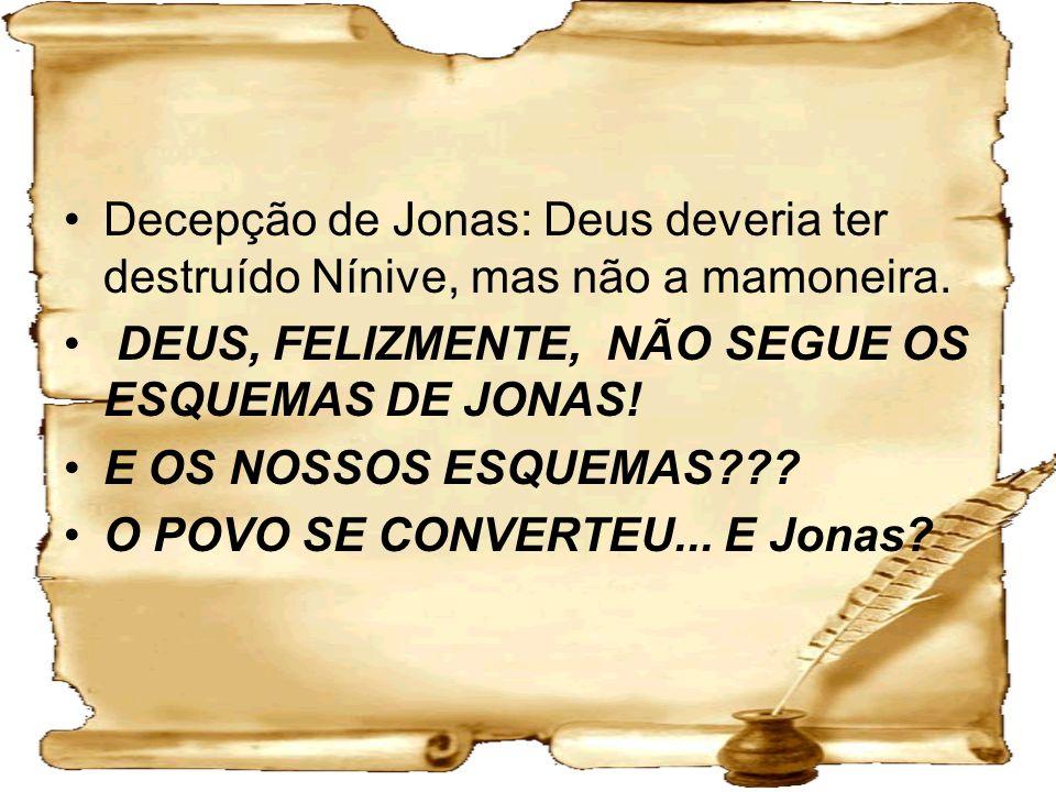 Decepção de Jonas: Deus deveria ter destruído Nínive, mas não a mamoneira. DEUS, FELIZMENTE, NÃO SEGUE OS ESQUEMAS DE JONAS! E OS NOSSOS ESQUEMAS??? O
