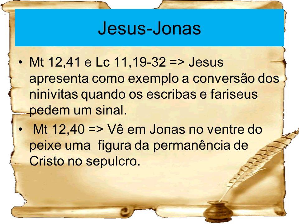 Jesus-Jonas Mt 12,41 e Lc 11,19-32 => Jesus apresenta como exemplo a conversão dos ninivitas quando os escribas e fariseus pedem um sinal. Mt 12,40 =>