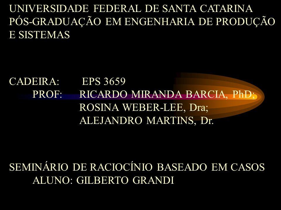 UNIVERSIDADE FEDERAL DE SANTA CATARINA PÓS-GRADUAÇÃO EM ENGENHARIA DE PRODUÇÃO E SISTEMAS CADEIRA: EPS 3659 PROF: RICARDO MIRANDA BARCIA, PhD; ROSINA