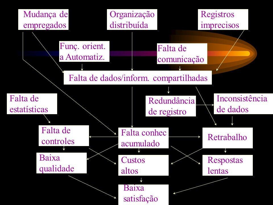 Mudança de empregados Organização distribuída Registros imprecisos Falta de comunicação Funç. orient. a Automatiz. Falta de estatísticas Falta de dado