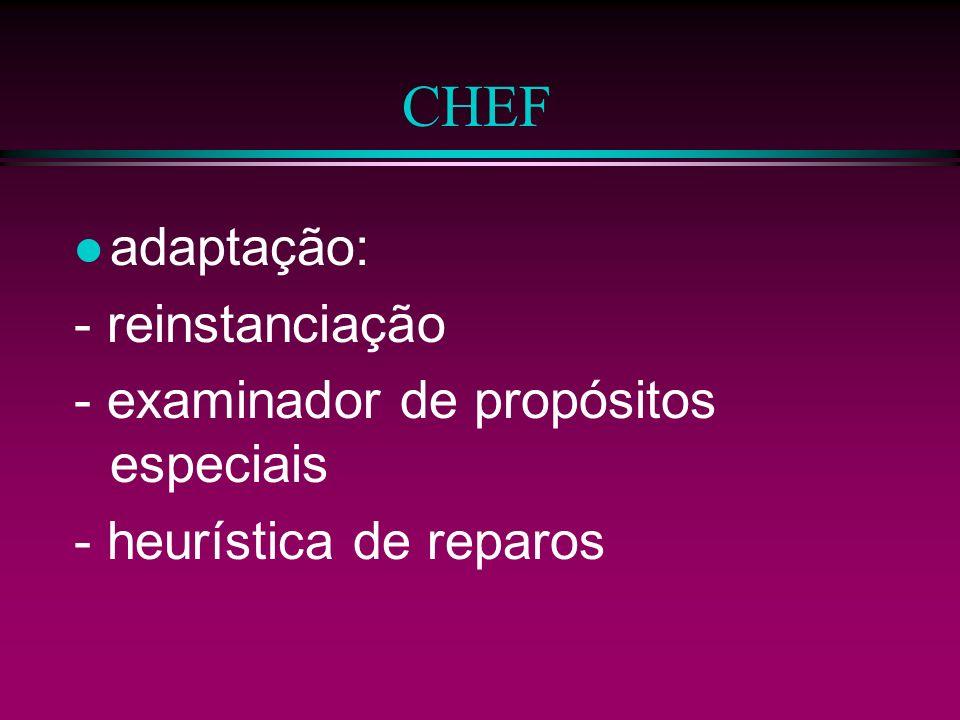 CHEF l objetivo do raciocíno: - antecipar - recuperar - adaptar - reparar. l próxima tarefa: script