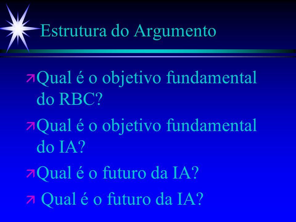 Estrutura do Argumento ä ä Qual é o objetivo fundamental do RBC? ä ä Qual é o objetivo fundamental do IA? ä ä Qual é o futuro da IA?
