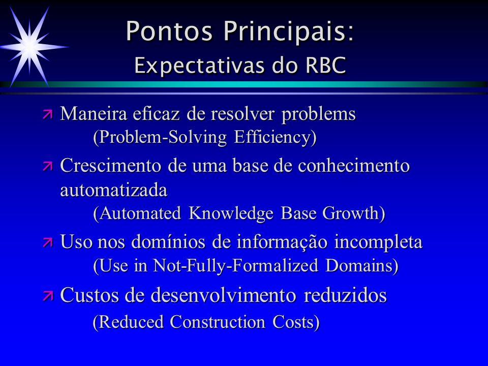 Pontos Principais: Expectativas do RBC Maneira eficaz de resolver problems (Problem-Solving Efficiency) Maneira eficaz de resolver problems (Problem-S