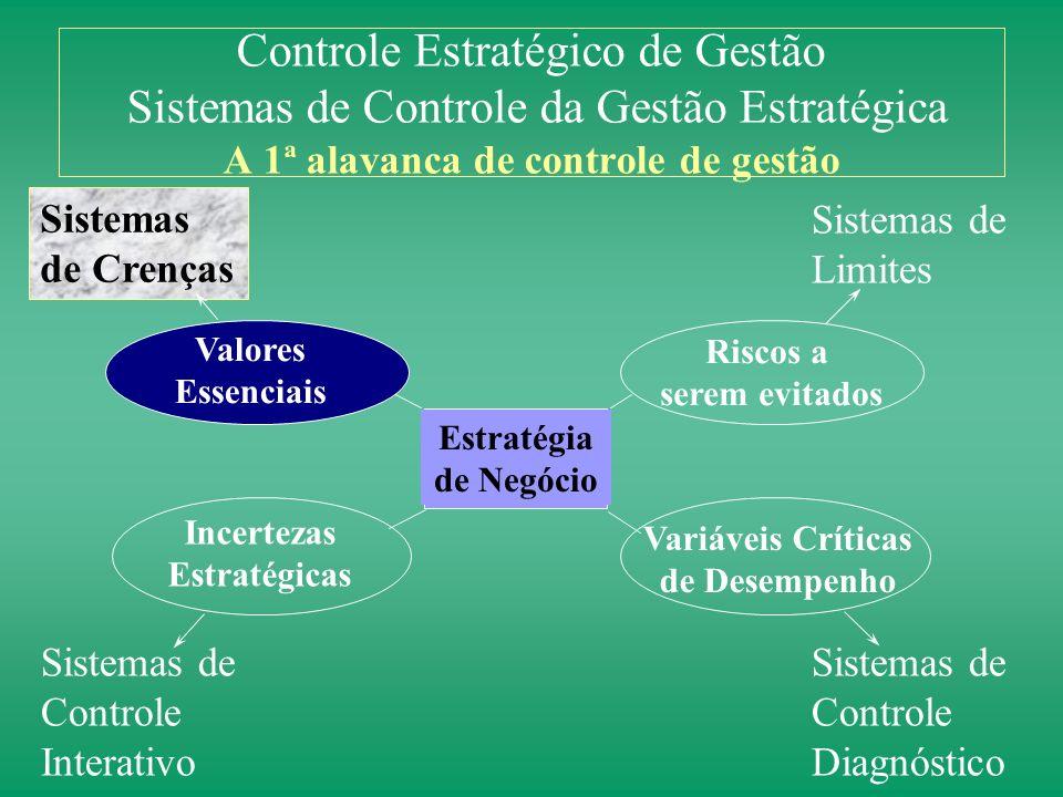 Estratégia de Negócio Valores Essenciais Riscos a serem evitados Incertezas Estratégicas Variáveis Críticas de Desempenho As 4 Alavancas de Controle E