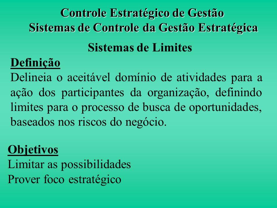 Controle Estratégico A 2ª alavanca de controle de gestão Estratégia de Negócio Valores Essenciais Riscos a serem evitados Incertezas Estratégicas Vari
