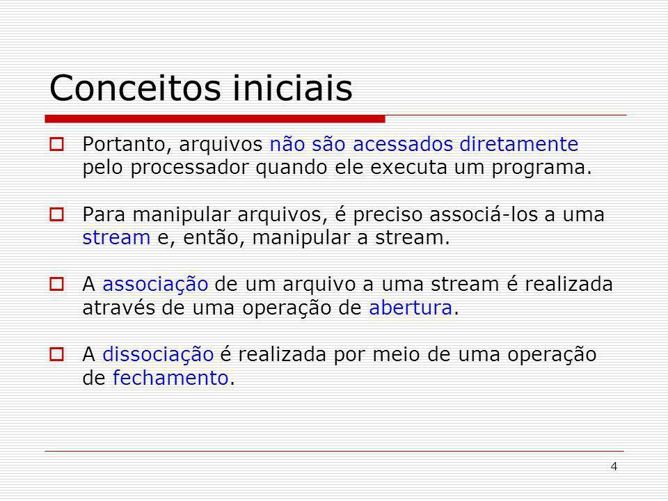 4 Conceitos iniciais Portanto, arquivos não são acessados diretamente pelo processador quando ele executa um programa. Para manipular arquivos, é prec