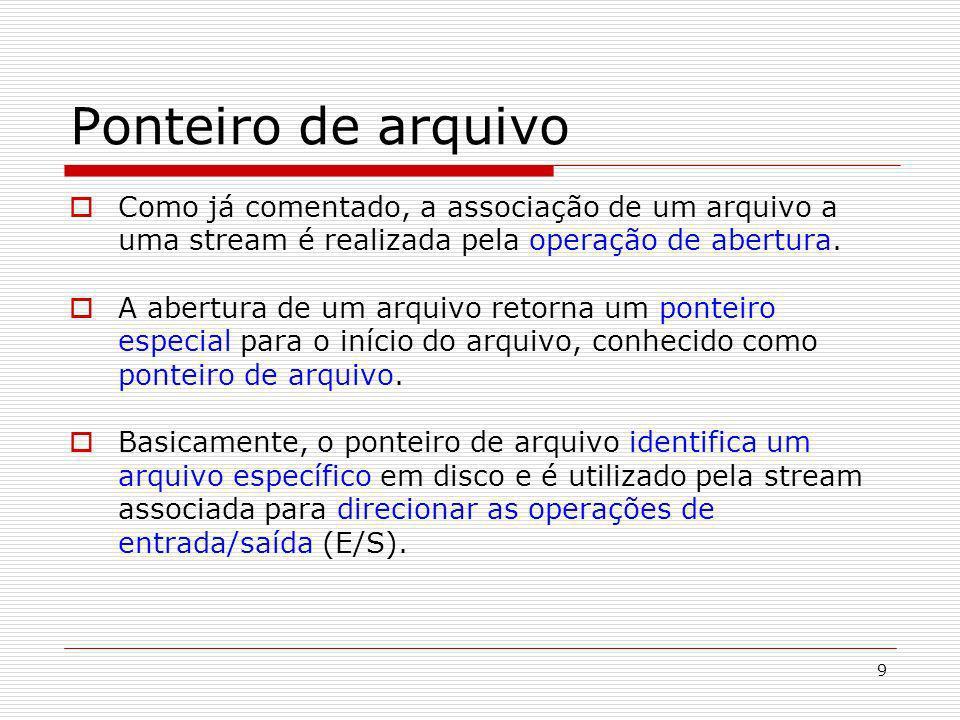 9 Ponteiro de arquivo Como já comentado, a associação de um arquivo a uma stream é realizada pela operação de abertura. A abertura de um arquivo retor