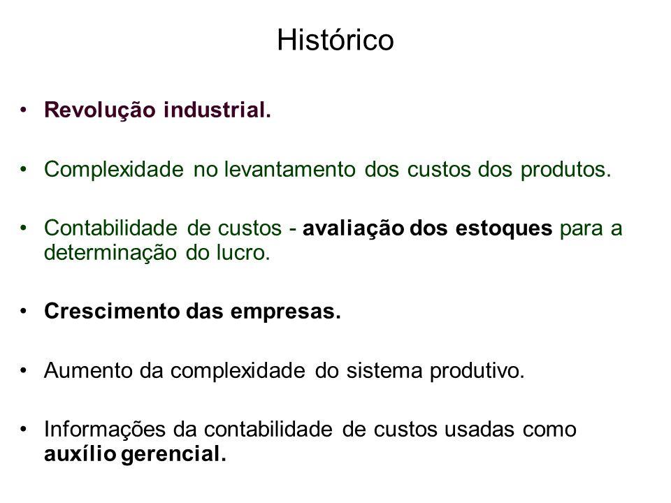 Histórico Revolução industrial. Complexidade no levantamento dos custos dos produtos. Contabilidade de custos - avaliação dos estoques para a determin