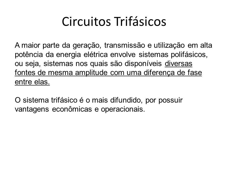 Circuitos Trifásicos A maior parte da geração, transmissão e utilização em alta potência da energia elétrica envolve sistemas polifásicos, ou seja, si