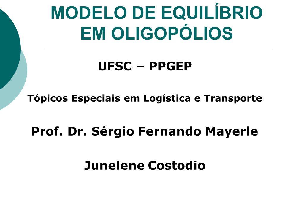 MODELO DE EQUILÍBRIO EM OLIGOPÓLIOS UFSC – PPGEP Tópicos Especiais em Logística e Transporte Prof.