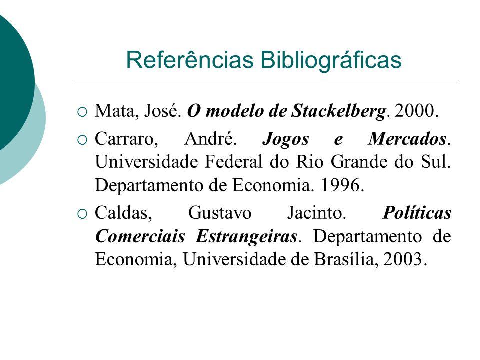 Referências Bibliográficas Mata, José.O modelo de Stackelberg.