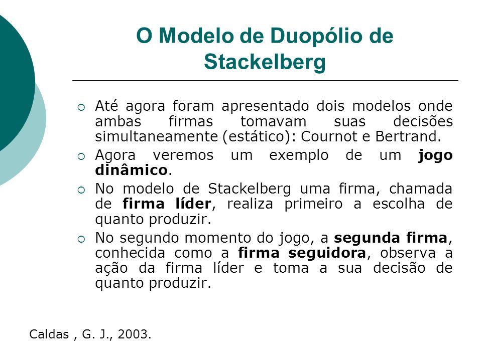 O Modelo de Duopólio de Stackelberg Até agora foram apresentado dois modelos onde ambas firmas tomavam suas decisões simultaneamente (estático): Cournot e Bertrand.