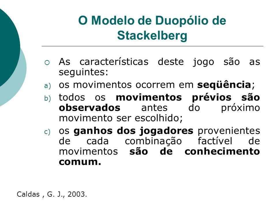 O Modelo de Duopólio de Stackelberg As características deste jogo são as seguintes: a) os movimentos ocorrem em seqüência; b) todos os movimentos prévios são observados antes do próximo movimento ser escolhido; c) os ganhos dos jogadores provenientes de cada combinação factível de movimentos são de conhecimento comum.