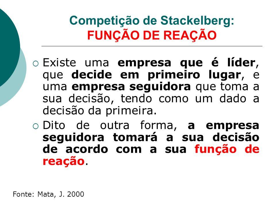 Competição de Stackelberg: FUNÇÃO DE REAÇÃO Existe uma empresa que é líder, que decide em primeiro lugar, e uma empresa seguidora que toma a sua decisão, tendo como um dado a decisão da primeira.