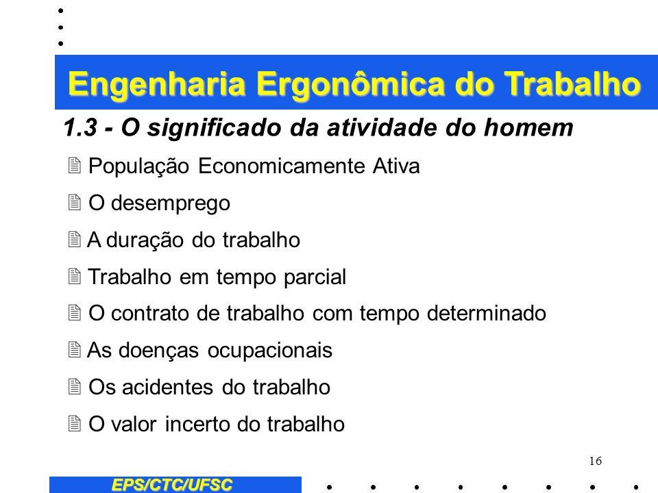15 EPS/CTC/UFSC Alguns exemplos de estudos sobre o trabalho: 2 A higiene e a segurança do trabalho 2 A concepção de meios de trabalho 2 A capacitação
