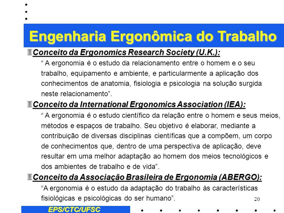 19 EPS/CTC/UFSC Engenharia Ergonômica do Trabalho 1.4 - A ergonomia e sua evolução 1) O que é ergonomia ? (e não ergonometria e muito menos ergologia)