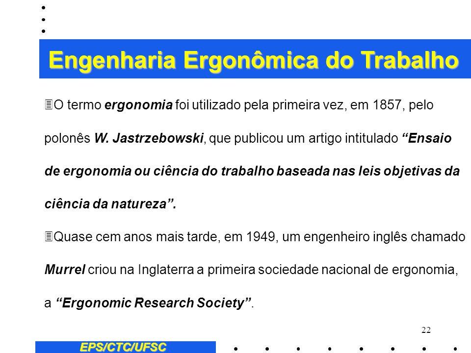 21 EPS/CTC/UFSC Engenharia Ergonômica do Trabalho 2) Evolução histórica (ver: VALENTIN, M.,Travail des Hommes et Savants Oubliés: Histoire de la Medic